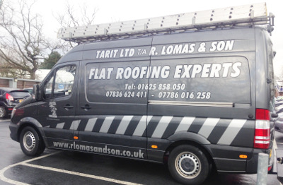 R Lomas & Son Limited van, they can repair leaking flat roofs